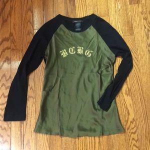 BCBGMaxAzria Long sleeve tee w/silk front size S